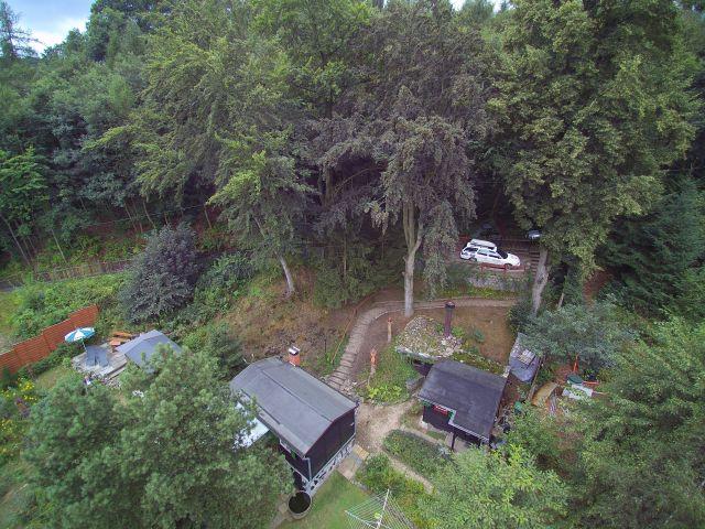 Luftaufnahme vom Waldgrundstück zur alleinigen Nutzung