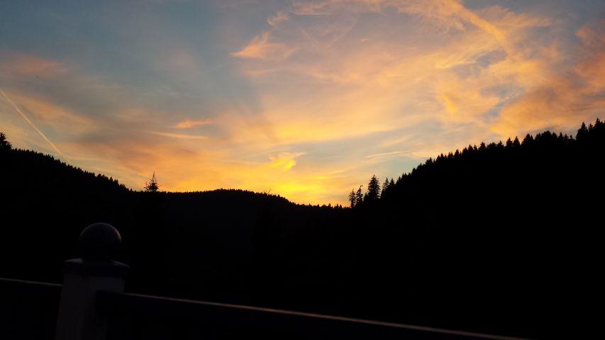 Blick vom Balkon, Sonnenuntergang