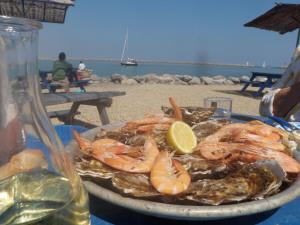 Austern essen am Meer