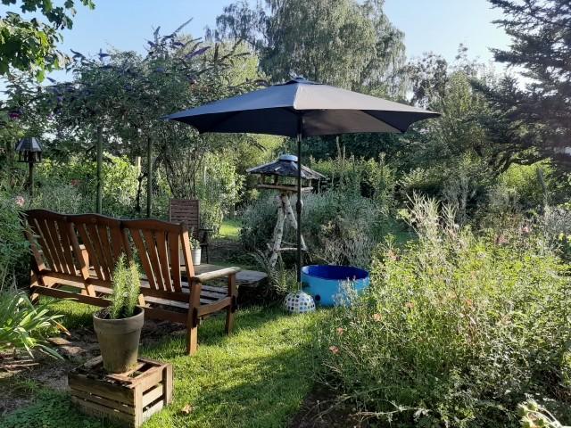 Sitzecke im Garten mit Hundepool