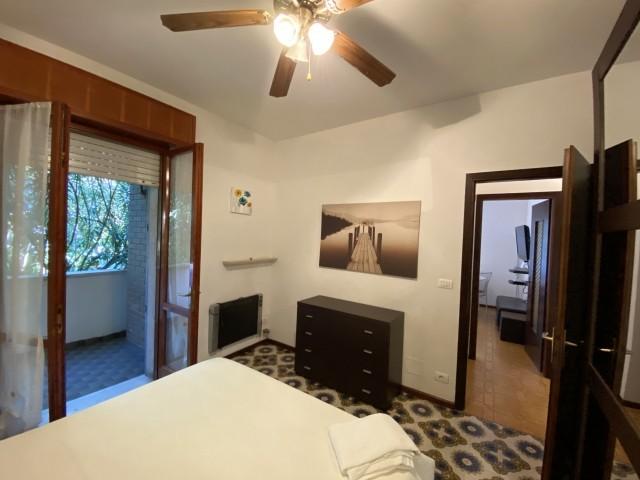 Das Schlafzimmer mit Nebenterrasse
