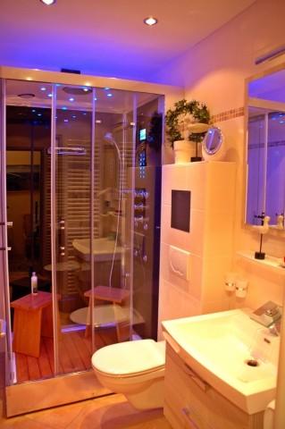 Komplett neu renoviertes Bad mit Luxus-Dampfdusche (u. a. mit Aroma-, Musik- und Farblichttherapie, Regenschauerdusche und Massagedüsen)...