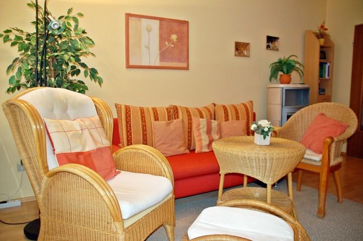 Komfortables Wohnzimmer unter anderem mit Doppel-Schlafsofa, Relaxsessel, Kaminofen, LED-TV, DVD-Player, Stereoanlage und Nintendo-Wii