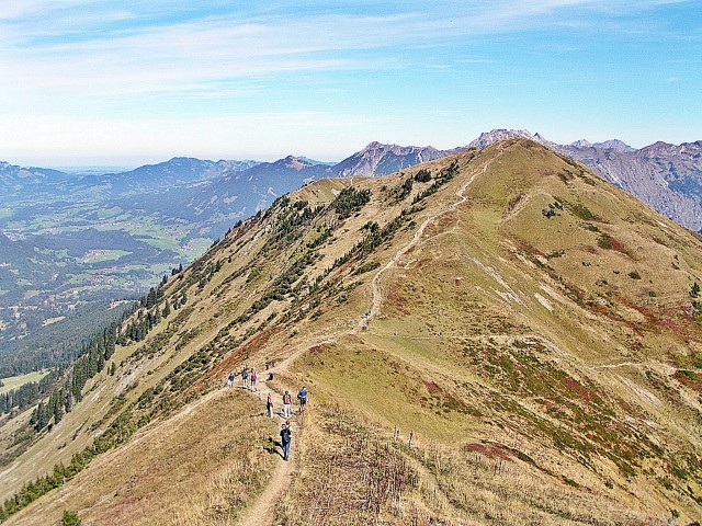 Gratwanderung über die Oberstaufner Berge (wer möchte, kann sogar eine Wanderung bis nach Immenstadt über die Berge unternehmen)
