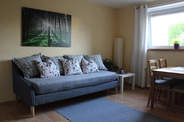 Wohnzimmer mit Einzelbett als Couch