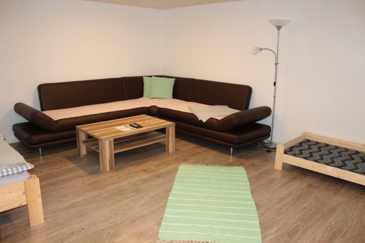 das große gemütliche Sofa bietet Platz für alle Zwei- und Vierbeiner