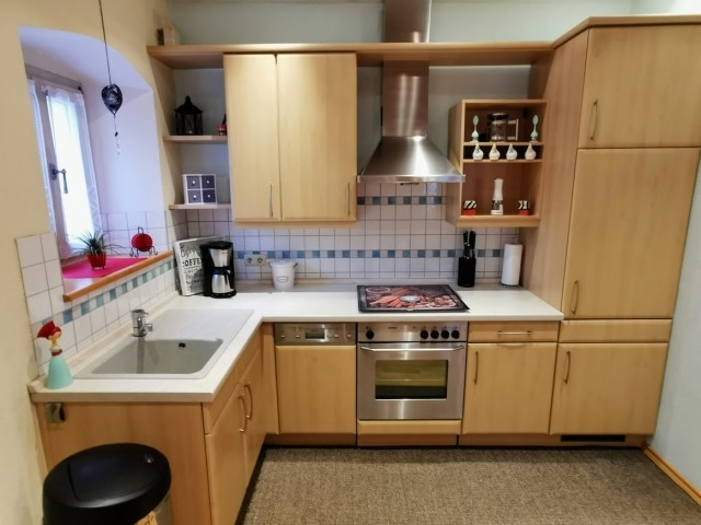 Die Küche mit Spülmaschine und Backofen....