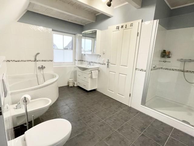 großes Badezimmer mit Dusche und Eckbadewanne