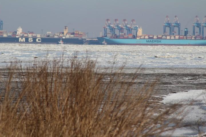 winterlicher Blick auf Bremerhaven