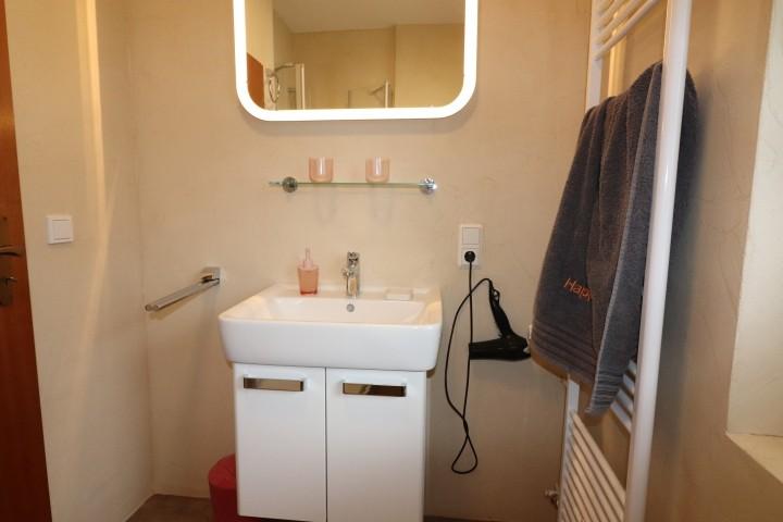 Waschbecken und Handtuchheizkörper