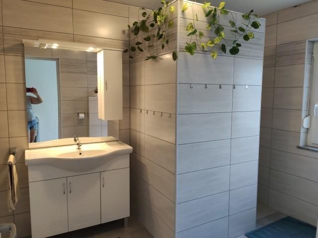 Badezimmer 1 mit Waschtisch und großzügigem Duschbereich