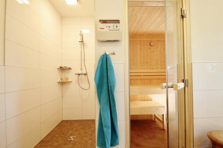 Sauna und Dusche im Badezimmer