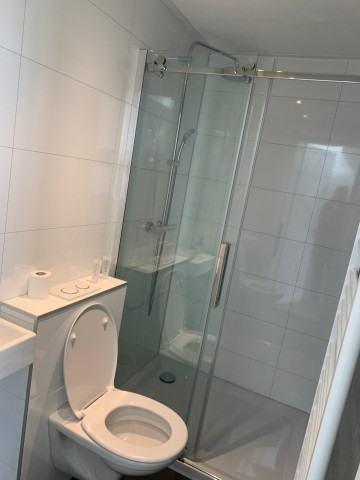 2. Badezimmer mit 2. WC und Dusche und kleinem Waschbecken