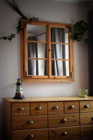 Fensterspiegel im Schlafzimmer EG
