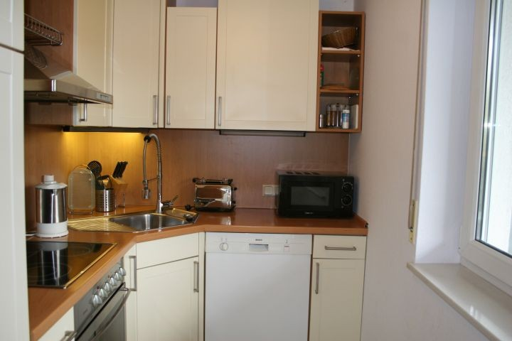 bestens ausgestattete Küche mit Ausblick