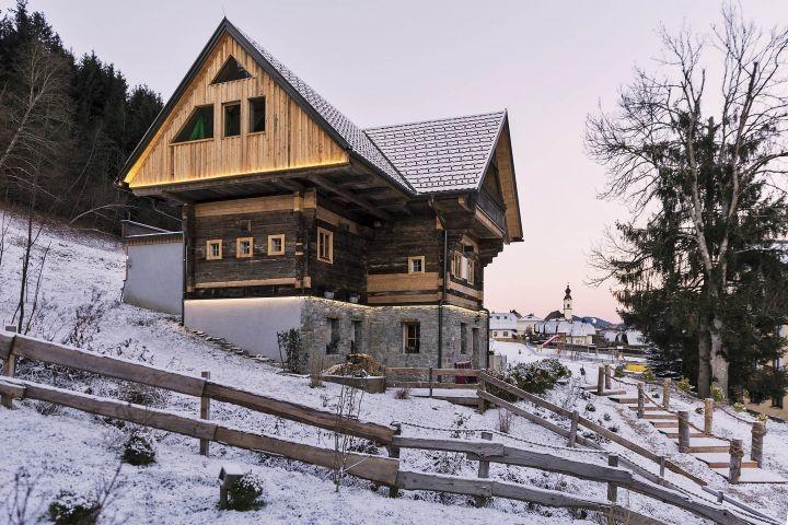 Bauernhaus Winter außen