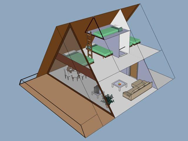 Schemazeichnung (Achtung: Schlafzimmer oben haben Türen)