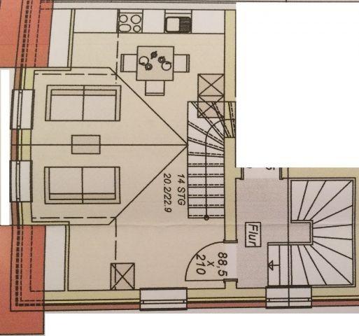 Die untere Etage der Maisonnettewohnung
