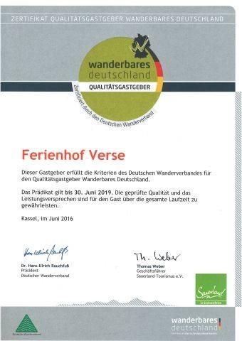 Urkunde Wanderbares Deutschland 'Qualitätsgastgeber'
