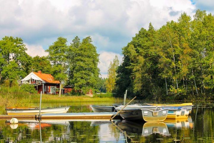 Blick auf unser Ferienhaus Sjövillan