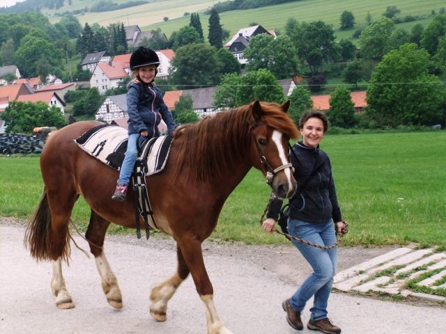 Ponyreiten am Hof