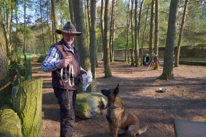 Hundetrainer auf dem Hundetobeplatz im Feriendorf