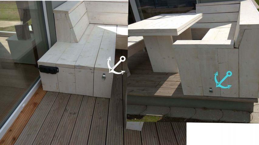 2 Ösen an der Terrasse für Ihre Hundeleine