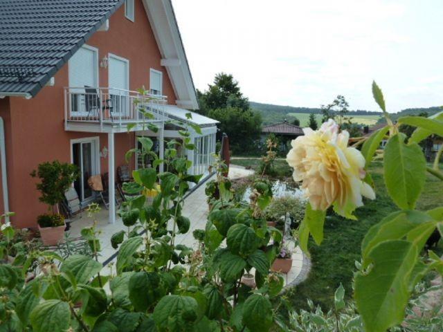 Blick auf Terrasse des Nachbarn vom hinteren Garten aus