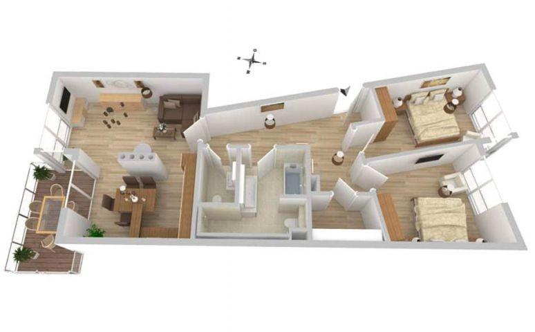 Grundriss vom Yoga-Apartment A 54 in der Hafenresidenz Waren Müritz
