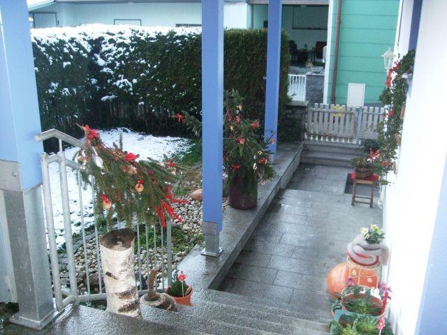 Garten und Eingangsbereich im Winter