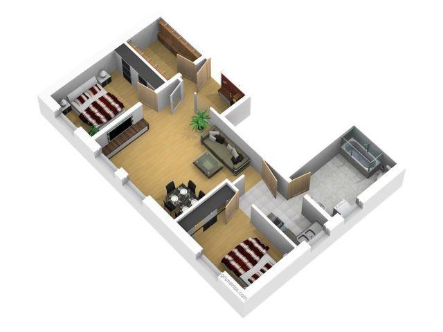 3 D Grundriss 83 qm plus Terrasse und kleinem privaten Garten !