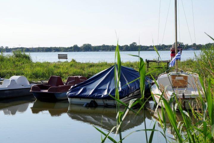 Zu freier Verfügung unseren  Gästen sind die Tretboote und Ruderboot.