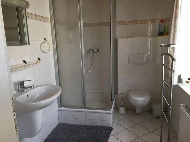 Bad mit Dusche, WC, Fön, Fenster