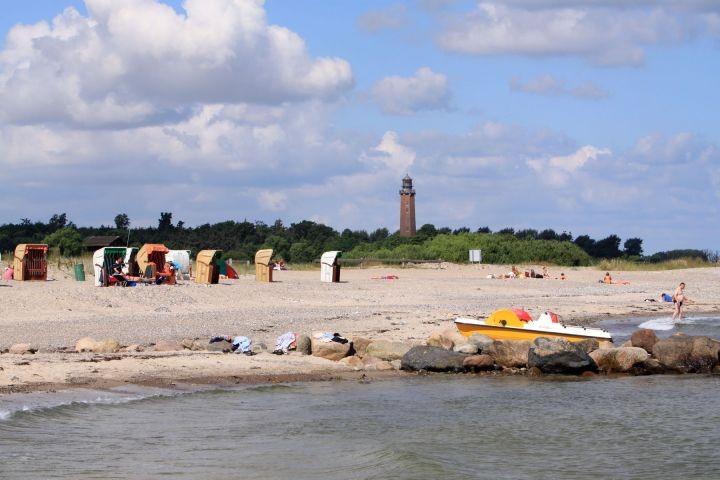 Der Behrensdorfer Strand ist Kurtaxenfrei aber mit Leuchtturm