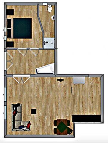 ca 62 m² nur Grundriss - Möbel sind beispielhaft