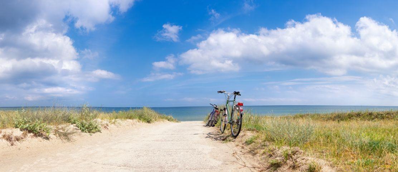 Auf fahrrad in 10 Min am strand