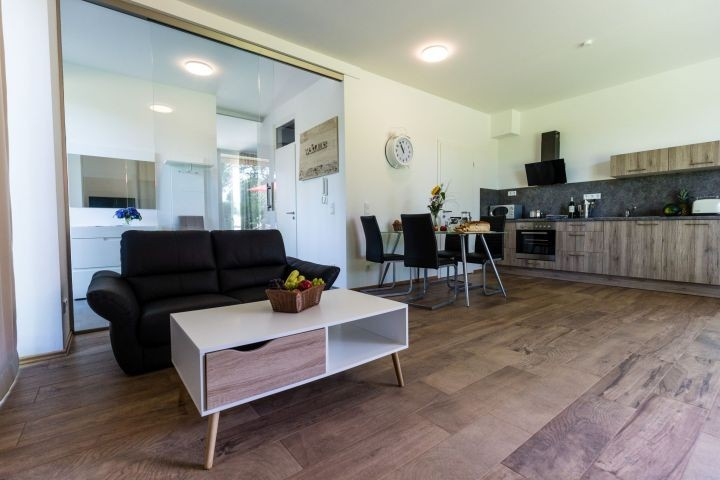 Wohnzimmer mit Küchenzeile und Esstisch für 4 Personen