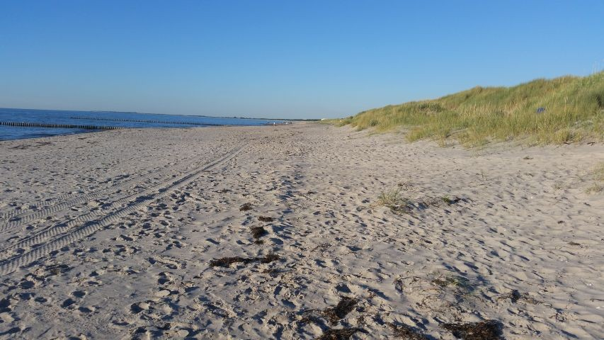Weiter Sandstrand im Juni