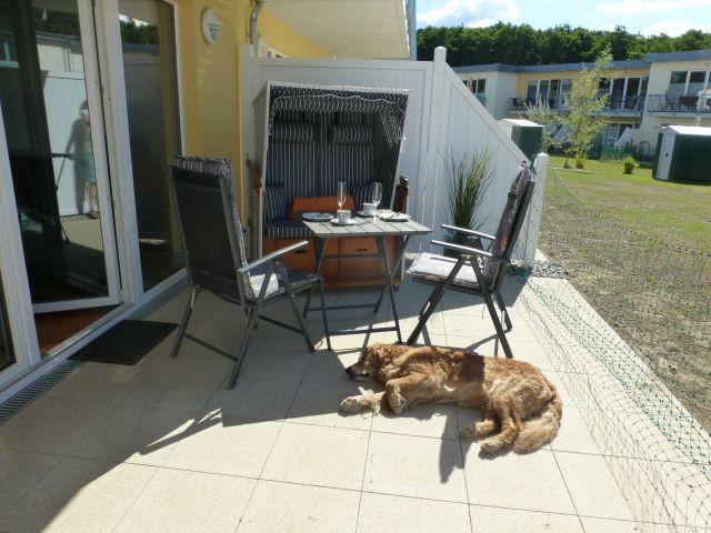 18 qm große Terrasse mit Strandkorb und Sitzecke, mit transportablem Zaun einzäunbar