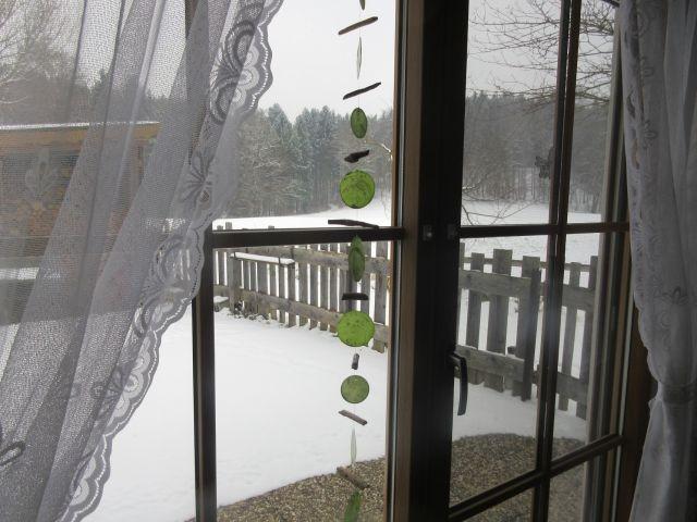 Blick aus der Terrassentür im Winter