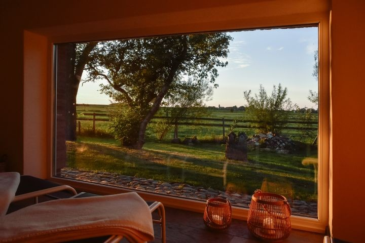 Blick aus dem Panoramafenster des Ruheraumes