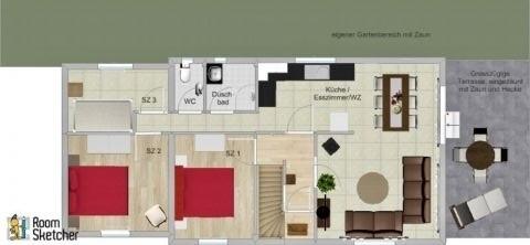 Grundriss der Ferienwohnung inkl. Terrasse/Garten