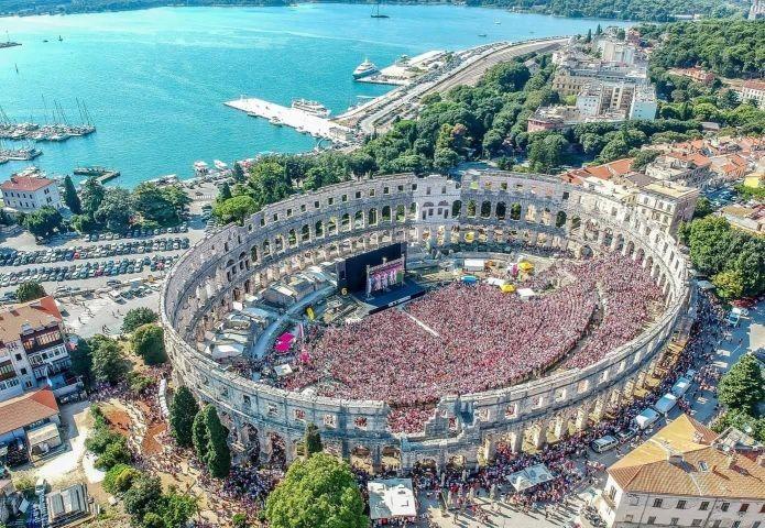 """Amphitheater """"Arena"""" Übertragung von Welt Fußballmeisterschaft"""