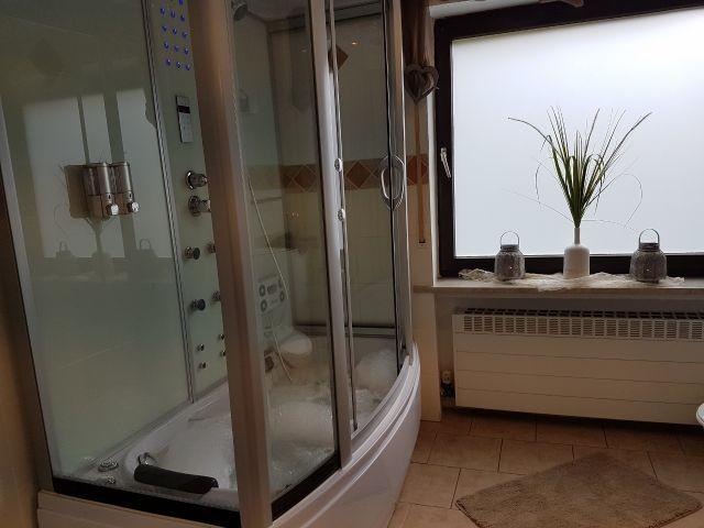 Bad mit Dusche, Dampfdusche mit Whirlpoolbadewanne, WC, Waschbecken, Föhn, Waschmaschine