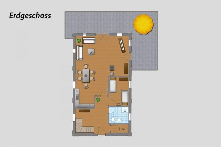 Grundriss EG mit Terrasse