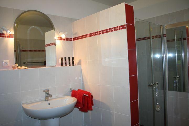 Modernes Bad mit bodengleicher großer Dusche