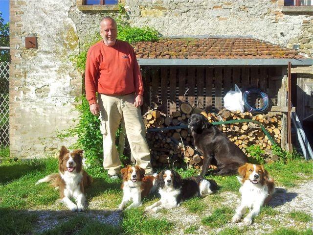 Gästehunde und im Hintergrund die frühere Haushüterin Wilma