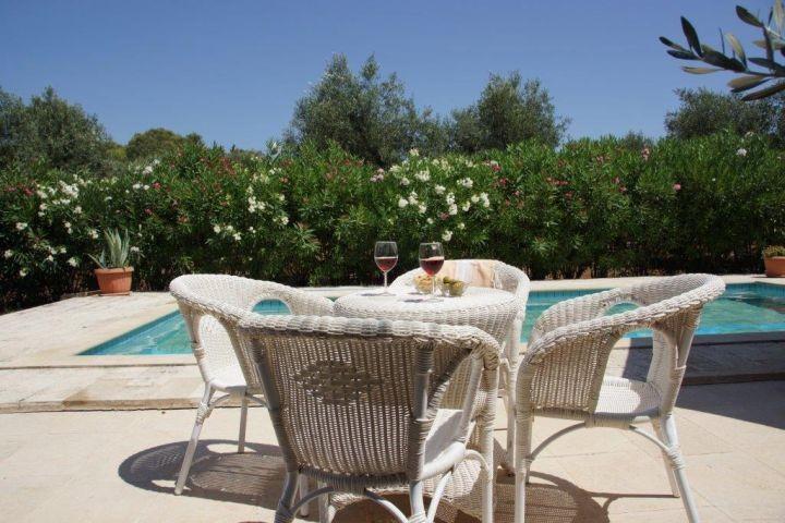 Zahlreiche Sitzmöglichkeiten am Pool und im Garten