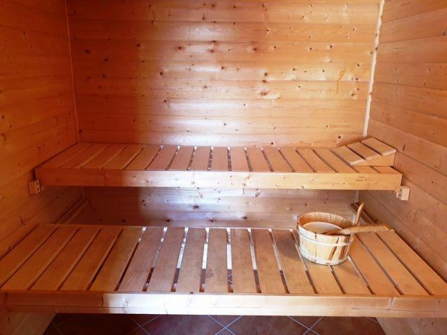 die Sauna im Gartenhaus