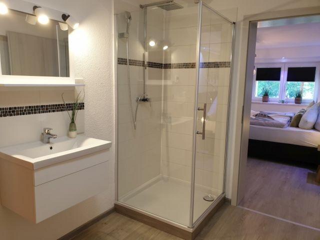 Bad mit Dusche, Waschbecken, WC, Infrarotsauna